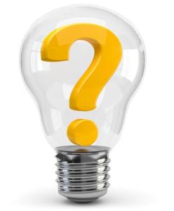 Glühbirne mit Fragezeichen