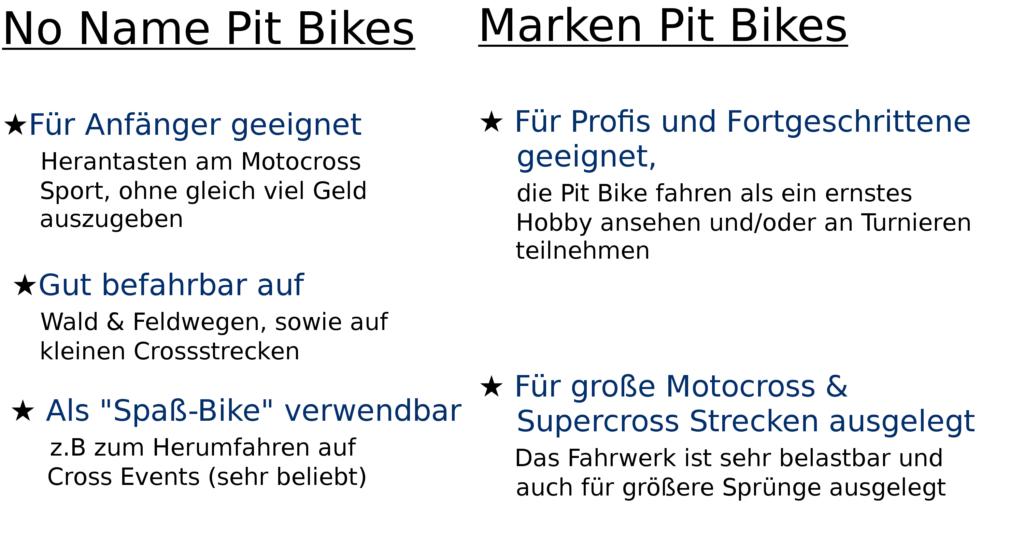 Pit-Bike-Unterschiede